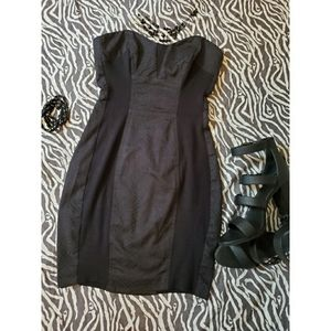 Bebe black strapless bodycon mini dress